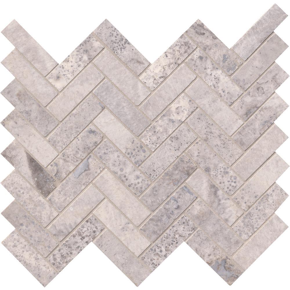 MSI Stone SMOT-SILTRA-HBH Silver Travertine Herringbone Pattern Tile with Honed Finish, Gray - Free Shipping