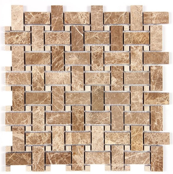 Light Emperador Marble Basketweave 12 in. x 12 in. x 10mm Polished Marble Mesh-Mounted Mosaic Tile