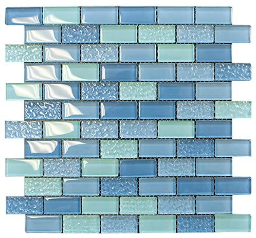 Pool Wave Blue Crystal Subway Glass Mosaic Tile for Bathroom and Kitchen Walls Kitchen Backsplashes - Free Shipping