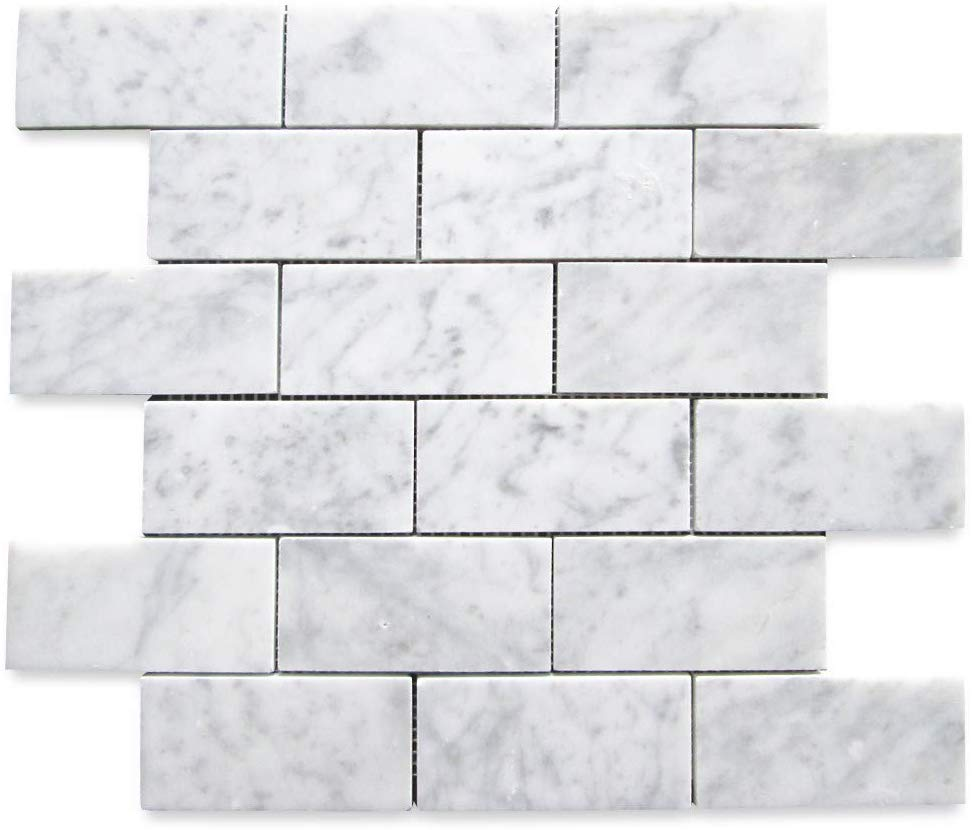 "Carrara White (Bianco Carrera) 2""x4"" Grand Brick Subway Mosaic Tile Polished - Marble from Italy"