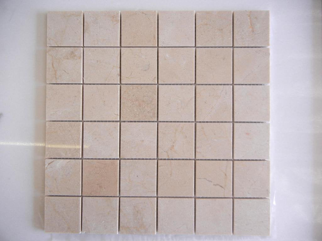M S International Crema Marfil 12 In. X 12 In. X 10mm Polished Marble Mesh-Mounted Mosaic Tile