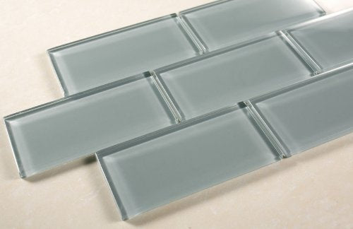Marble 'n things Ice Mist Glossy - 3x6 Blue Grey Glass Tile - Bathroom Tile & Kitchen Backsplash Tile - Free Sample