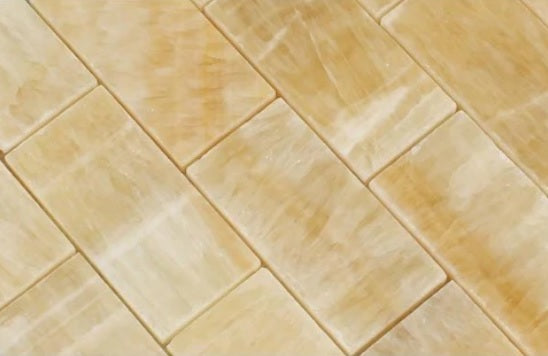 "Honey Onyx Marble  2x4"" Brick Pattern Mosaics Meshed on 12"" X 12"" Sheet -  Polished"