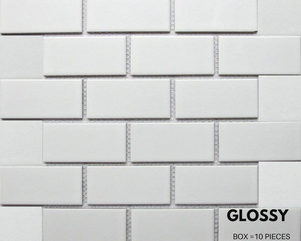 "White Tile Ceramic Subway Brick  2"" X 4"" Glossy - (Box of 10 Sqft), Wall Tile, Backsplash Tile, Bathroom Tile on 12x12 Mesh for Easy Installation - Free Shipping"