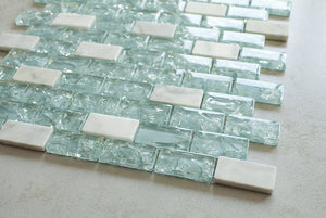 "Blue Cleft Glass & Bianco Marble Mosaic Tile - Blue & White 1""x2"" Glass Tile - Free Shipping"