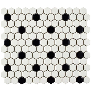 "Retro Hex Porcelain Floor and Wall Tile, 10.25"" x 11.75"", Matte White with Black Dot"