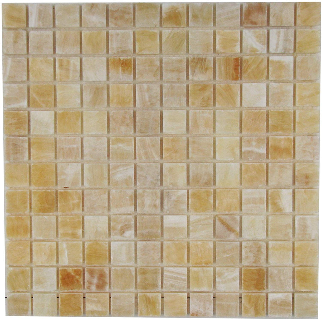 Honey Onyx Marble  1 x 1 Inch Polished Premium for Bathroom and Kitchen Mosaic Tile