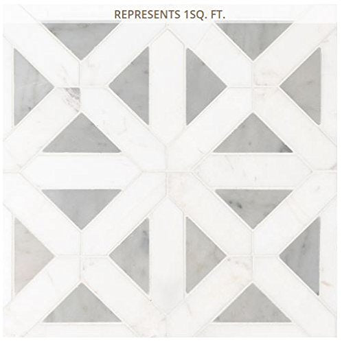 Bianco Dolomite Geometrica 12 in. x 12 in. x 10 mm Polished Marble Mesh-Mounted Mosaic Tile