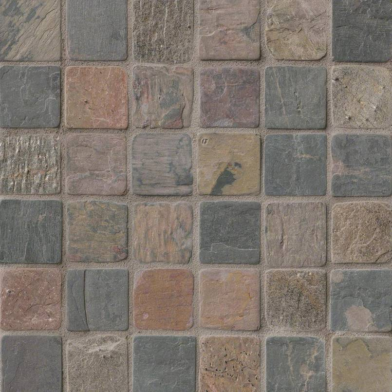 MSInternational Mixed Color 12 In. X 12 In. X 10mm Tumbled Slate Mesh-Mounted Mosaic Tile