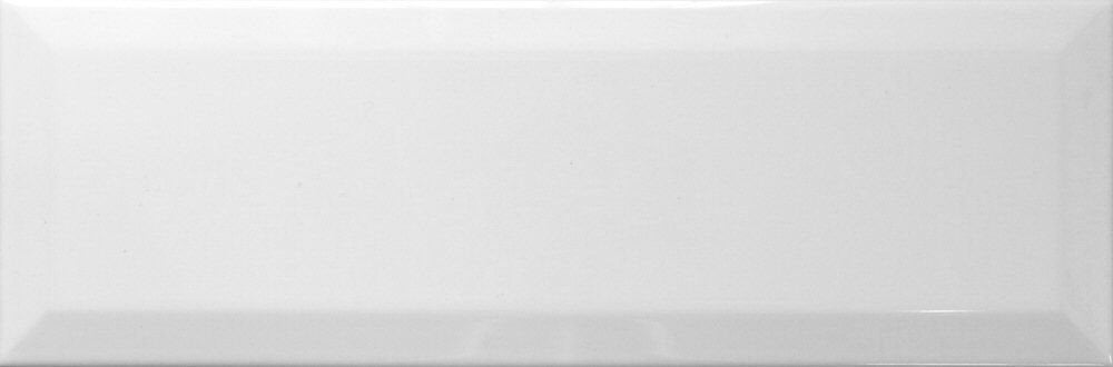 "White Ceramic Beveled Subway Tile 4"" X 16"" (Box of 10 Sq Ft)- Glossy Finish - Free Shipping"