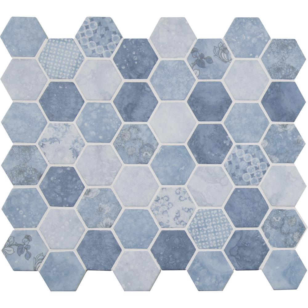 MSI Vista Azul Hexagon 12 in. x 12 in. x 6mm Glass Mesh-Mounted Mosaic Tile