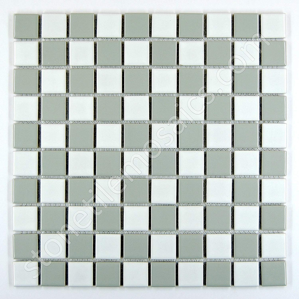 "Square Checkered Tile Grey & White Porcelain Mosaic Shiny Look 1-1/8"" X 1-1/8"""