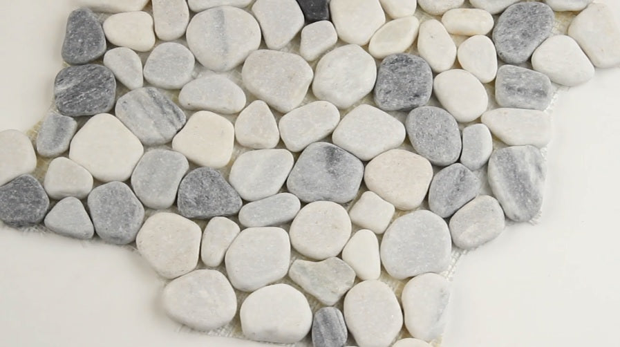 MS International 12 in. x 12 in. Black/White Pebbles Marble Mosaic Floor & Wall Tile