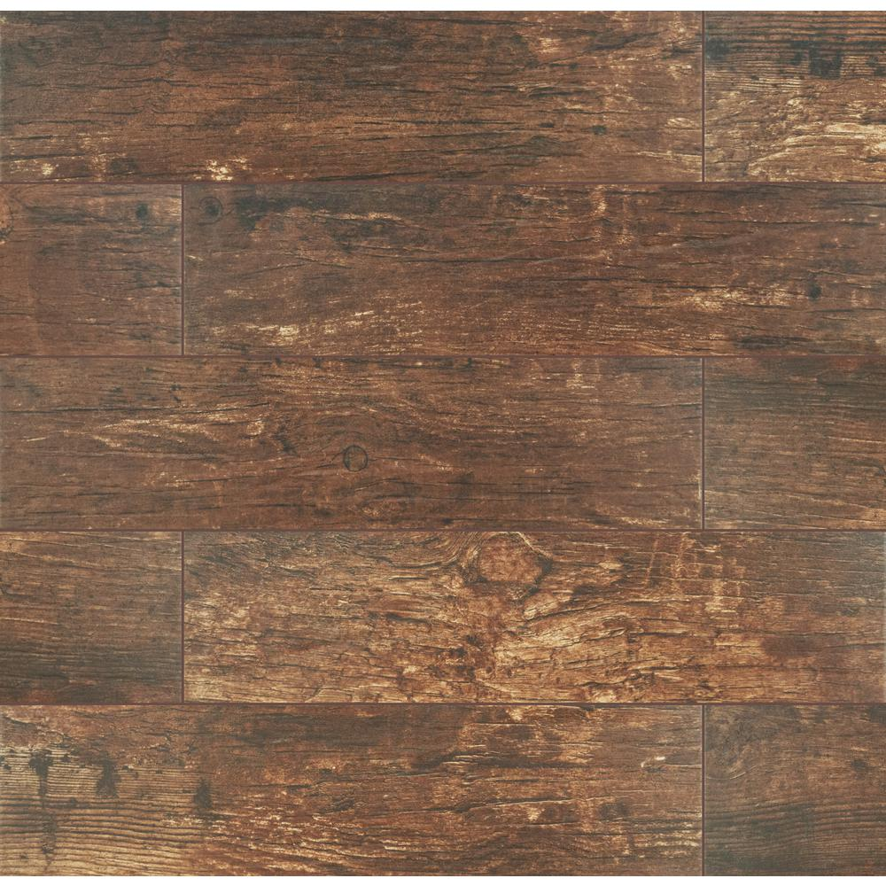 MS International Redwood Mahogany 6 in. x 24 in. Glazed Porcelain Floor and Wall Tile (10 Sqft) - Free Shipping