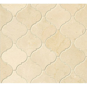 Crema Marfil Marble Arabesque Mosaic Tile - Polished