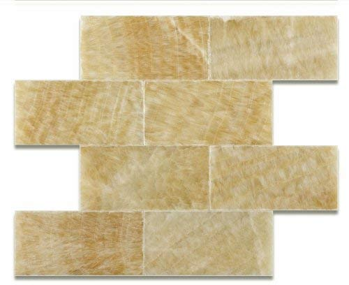 "Honey Onyx Marble Subway 3"" x 6""  Tile Premium - Polished - Free Shipping"