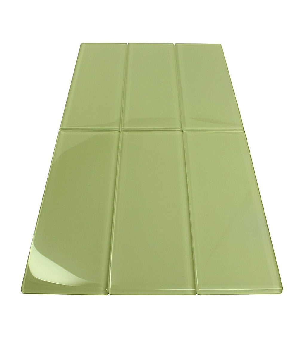 Premium Quality Bliss Green 3x9 Glass Subway Tile for Bathroom Walls, Kitchen Backsplashes By Vogue Tile