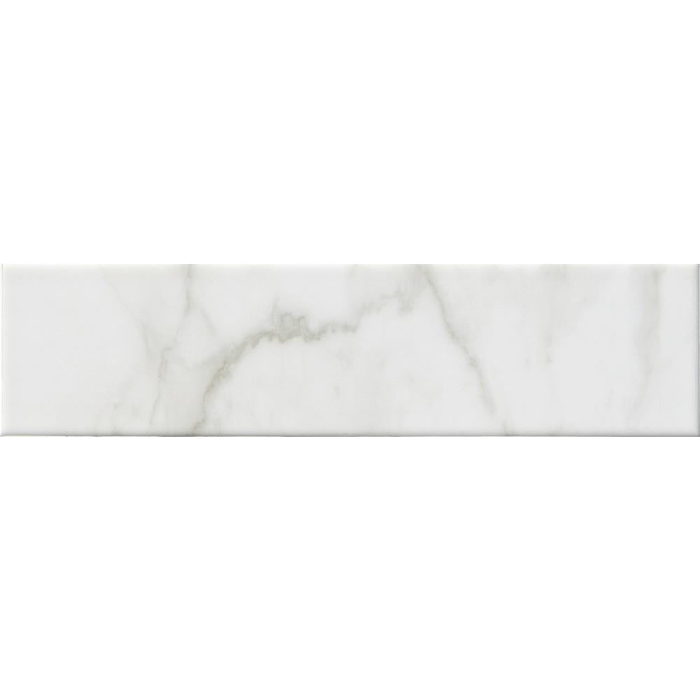 MSI Classique White Carrara 4 in. x 16 in. Glossy Glazed Ceramic Wall Tile