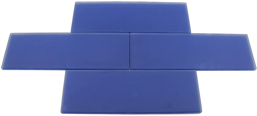 Premium Quality Cobalt Blue Frosted 3x9 Glass Subway Tile for Bathroom Walls, Kitchen Backsplashes by Vogue Tile - Free Shipping