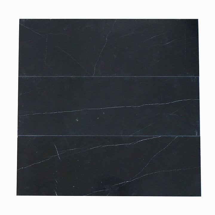 Nero Marquina Black Marble 4x12 Wall and Floor Tile Polished for Kitchen Backsplash Bathroom Flooring Shower - Free Shipping