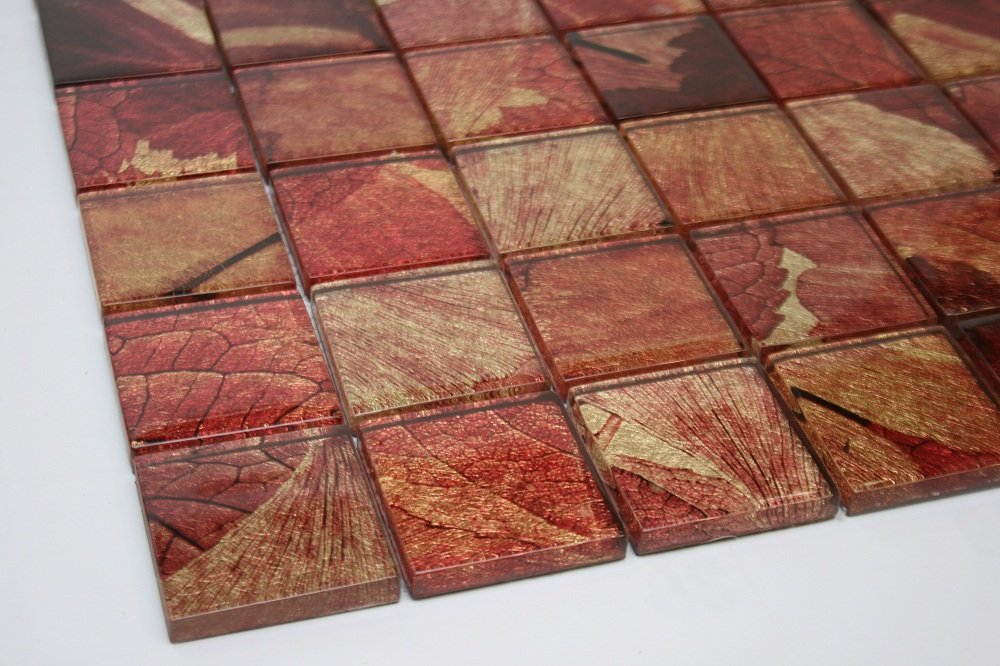"Summer - 2"" x 2"" Red, Gold & Brown Glass Tile"