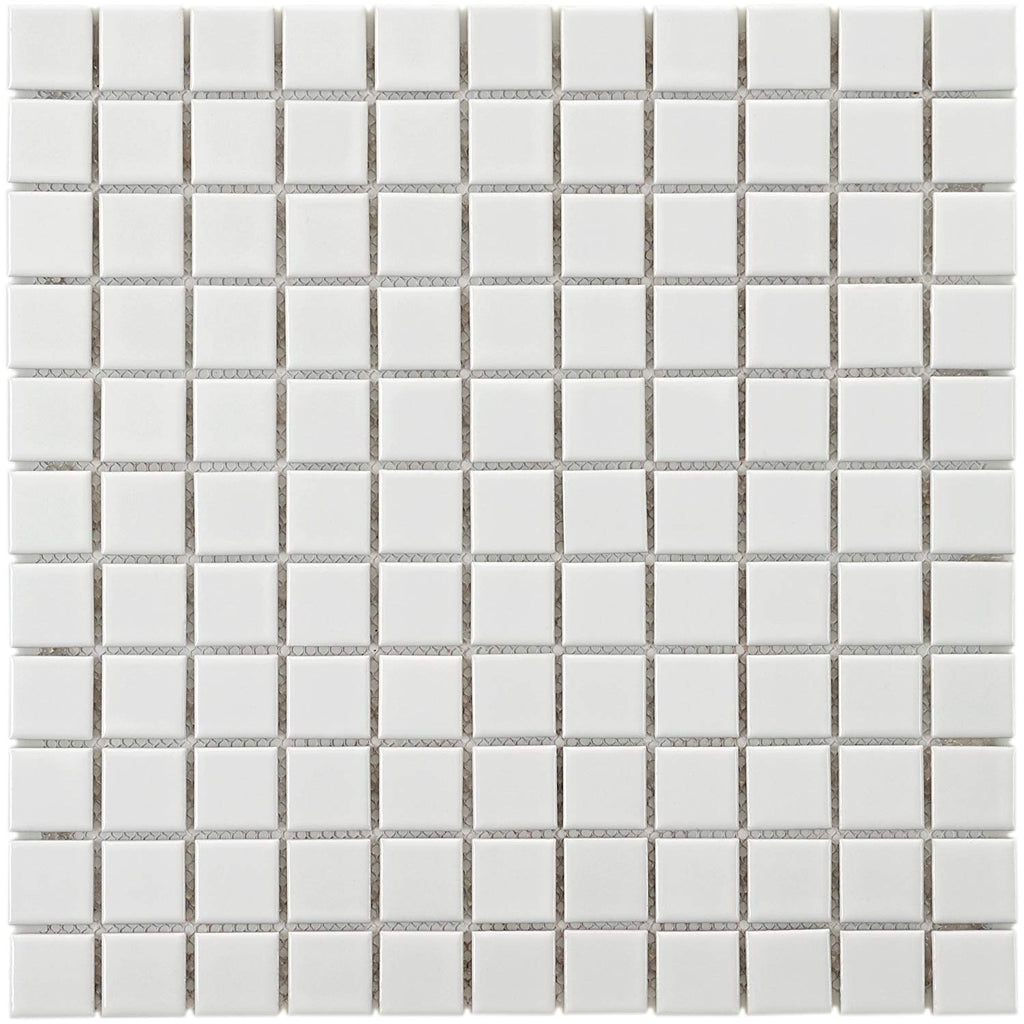 "Retro Square 1"" Porcelain Floor and Wall Tile, 11.75"" x 11.75"", White"