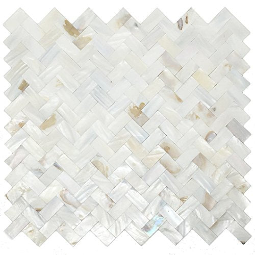Mother of Pearl Oyster White Natural Sea Shell Seamless Herringbone Tile for Kitchen Backsplashes By Tenedos - Free Shipping