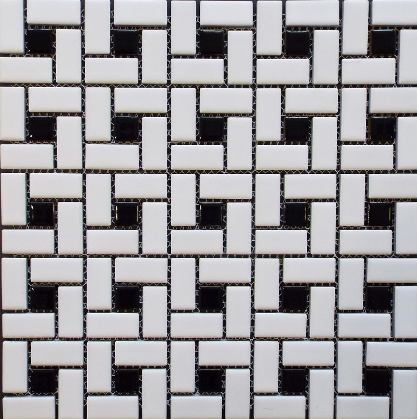 Vogue Spiral Pattern Porcelain Pinwheel Mosaic Tile Matte White with Shiny Black Dots Designed in Italy (12x12)