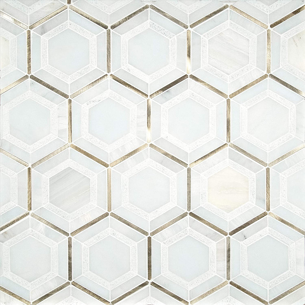 MS International Medici Gold Pattern 12.44 in. x 10.83 in.  Medici Pattern 12.44 in. x 10.83 Marble Mesh-Mounted Mosaic Wall Bathroom, Floor, Kitchen Backsplash and Countertop Tile Geometric,  White - Gold, 9 Square Feet - Free Shipping