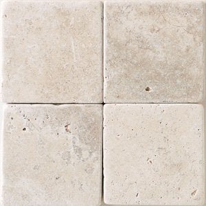 "Crema Marfil 6"" x 6"" Tumbled and  Honed Marble Floor and Wall Tile - Free Shipping"