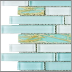 Marble 'n things Random Brick Pattern Glass Tile & Resin Tile; Color: Blue Glass Mosaic Tile with Rice Plant Resin Mosaic Tile