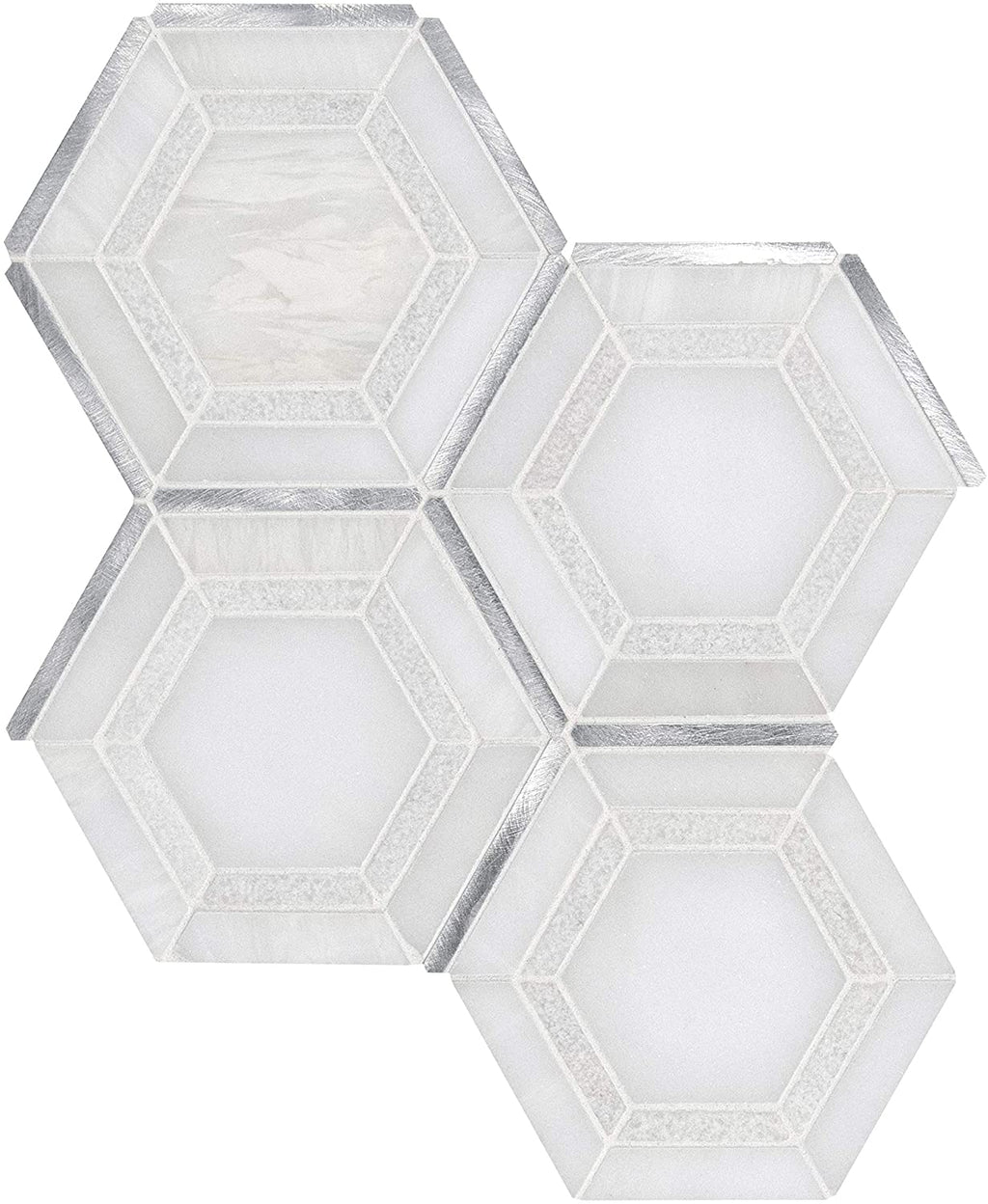 MS International Medici Silver Pattern 12.44 in. x 10.83 in. Marble Mesh-Mounted Mosaic Wall Tile for Bathroom, Floor Tile, Kitchen Backsplash and Countertop Tile, Gray, White, Silver - Free Shipping
