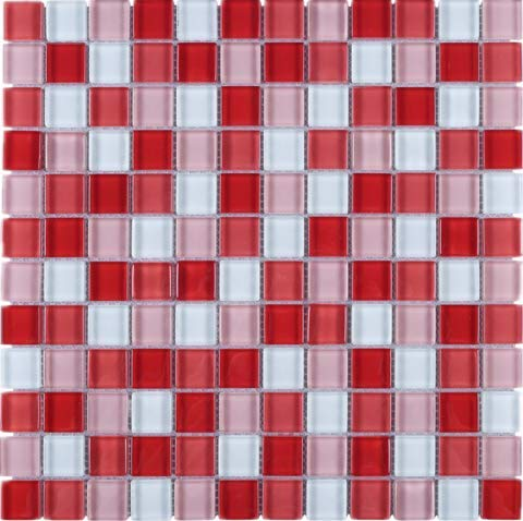 Square Multi Shade Glass Mosaic Tile for Kitchen Backsplashes, Bathroom Walls, Spa, Pool (Flame Red)