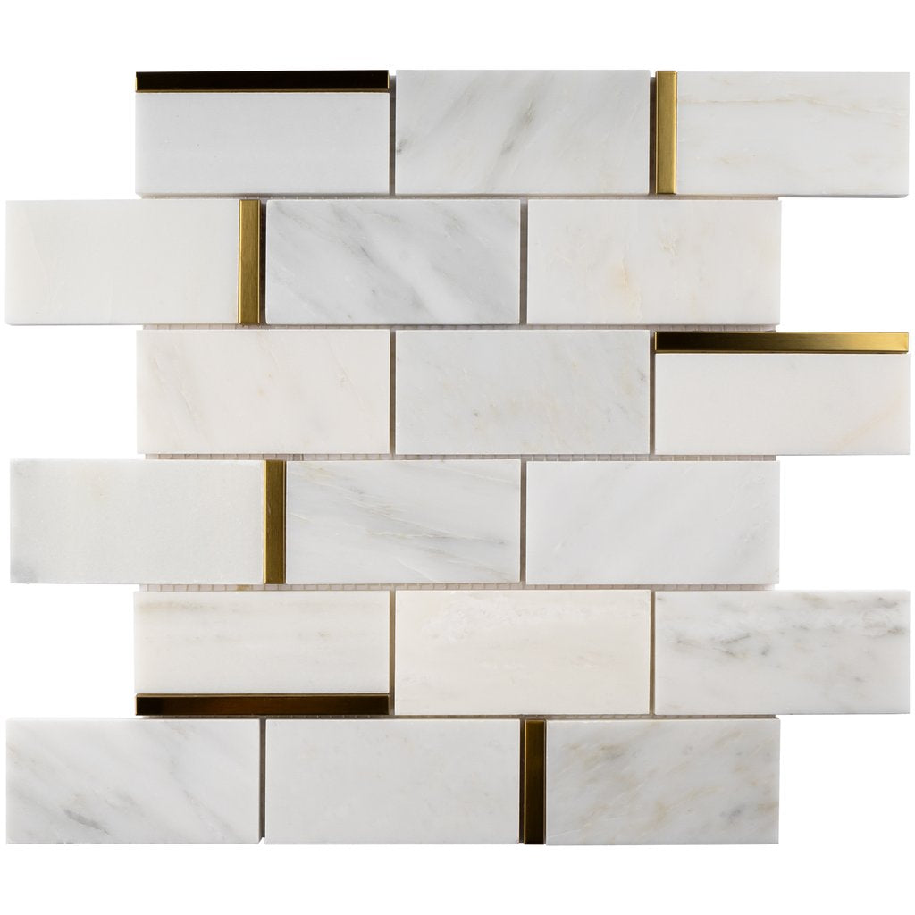 Tenedos Carrara White Marble 2x4 Grand Brick Subway Mosaic Tile with Gold Metal Stainless Steel Polished for Kitchen Backsplash Bathroom Flooring Shower Entryway Corrido Spa (Box of 10 Sheets) - Free Shipping