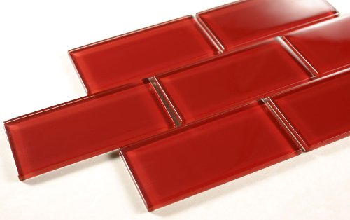 Ruby Red - 3x6 Red Glass Tile Mosaic - Bathroom Tile & Kitchan Backsplash Tile (price per square feet, 8 pieces)
