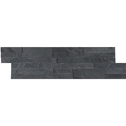 "MSI MIDNIGHT ASH PEEL AND STICK STACKED STONE Brick 21.75"" X 6"", Wall Tile, Fireplace Tile, Backsplash Tile, Bathroom Tile, Easy DIY Tile (Box of 15pcs )"