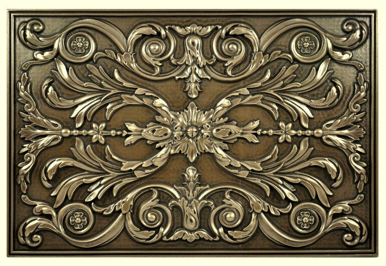 Fireplace Wall Accent Metal Resin Mural Plaque Tile Crown Metal MURAL Oil Rubbed Venetian Bronze Hand Made Finish 12x12 Kitchen Backsplash Medallion or Bathroom