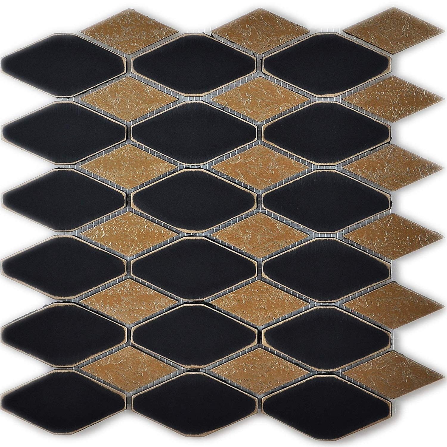 Vogue Tile Metal Octagon Black Gold Mosaic Tile for Kitchen Backsplashes, Wall, Bathroom Tile - Free Shipping