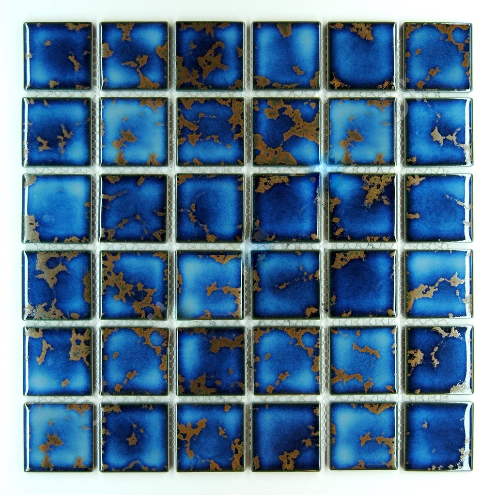 Vogue Premium Quality Square Blue Calacatta Porcelain Mosaic Glossy Tile for Bathroom Floors, Walls and Kitchen Backsplashes, Pool Tile Designed in Italy
