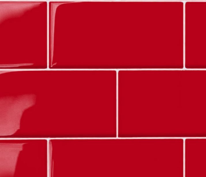 "Red  3X6""  Ceramic Glossy Wall Tile- 48 pcs/carton (6 sq ft) - Free Shipping"