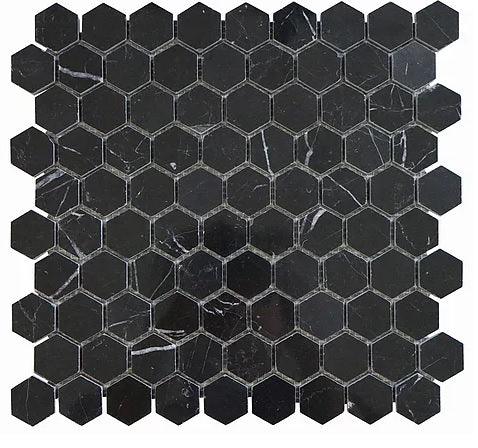 Nero Marquina Black Marble Hexagon Mosaic Tile 1 inch Polished