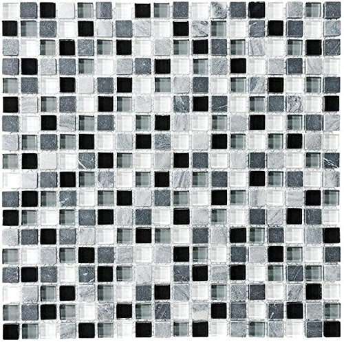 10 Sq Ft - Bliss Midnight Stone and Glass Square 5/8 x 5/8 Mosaic Tiles - bathroom walls/ kitchen backsplash