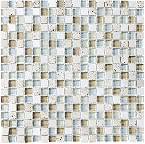 10 Sq Ft - Bliss Spa Stone and Glass 5/8 x 5/8 Square Mosaic Tiles - bathroom walls/ kitchen backsplash