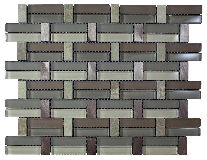 Glossy Light and Dark Brown & Brown Marble & Silver Aluminum Authentic Glass Mosaic Tiles