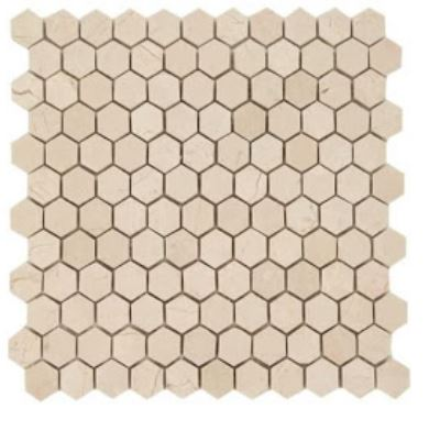 "Crema Marfil Marble 1"" Hexagon Mosaic Tile (Honed) - Free Shipping"