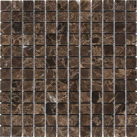 "Dark Emperador 1 x 1x3/8"" Mosaic Tile Meshed on 12"" X 12"" sheet - Polished"