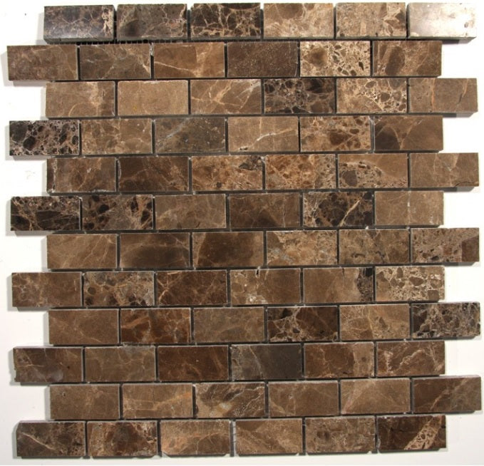 Spanish Dark Emperador Marble 1x2 Polish Brick Pattern