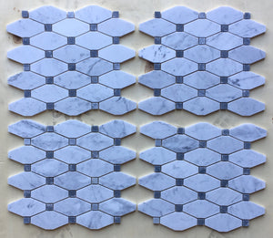 Carrara White Italian (Bianco Carrara) Marble Octave Pattern Mosaic Tile (Blue & Gray Marble Dots)