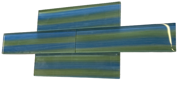 "Blue Green Aqua Beach Hand Painted Glass Subway Tile for Kitchen Backsplash or Bathroom, 3x12"" (5 Sq Ft Box) - Free Shipping"