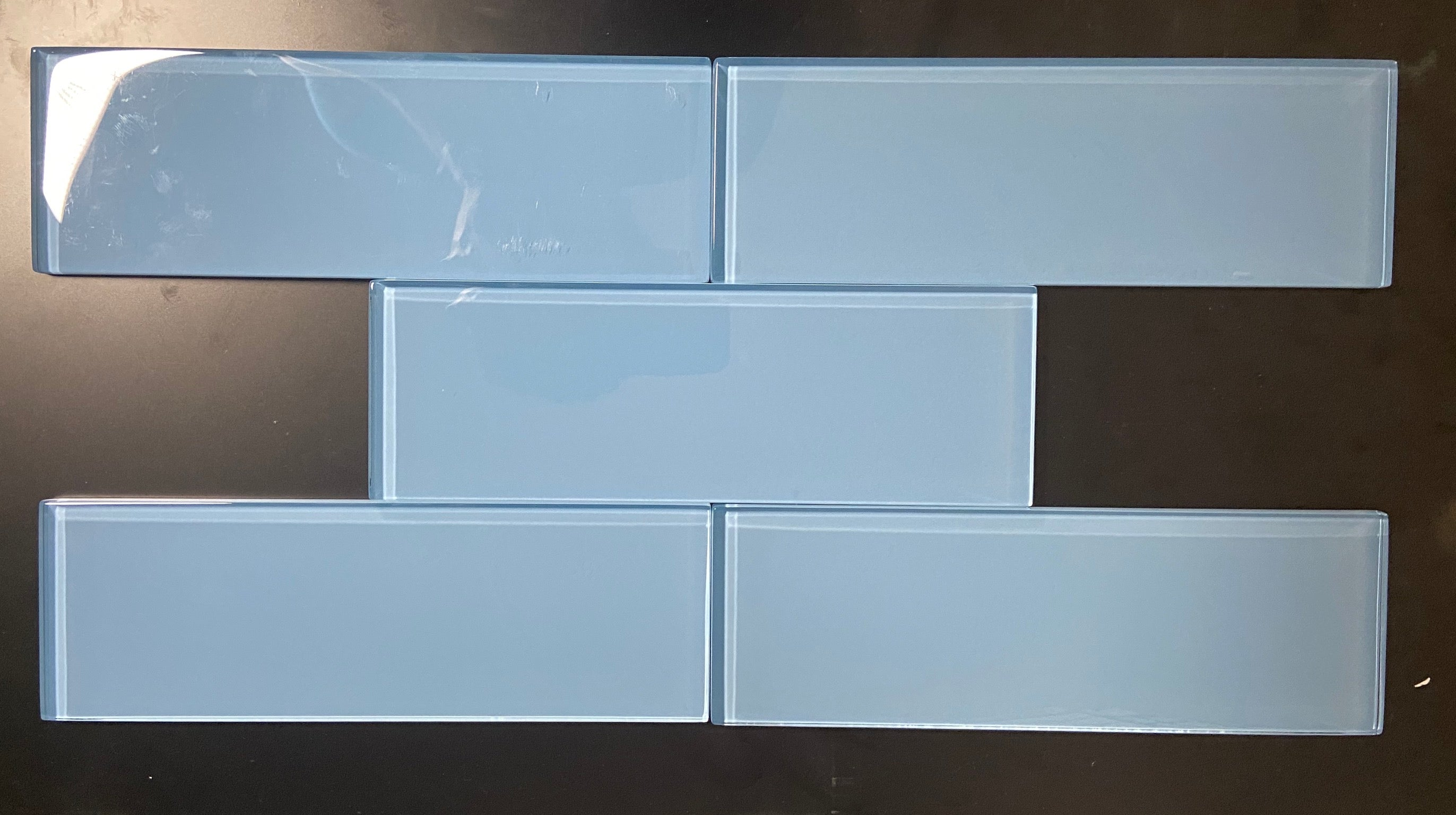 Premium Quality Pacific Blue 3x9 Glass Subway Tile for Bathroom Walls, Kitchen Backsplashes By Vogue Tile - Free Shipping